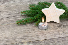 Christmas decoration on wooden plank Royalty Free Stock Photo