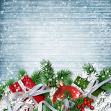 Christmas decoration on the wooden snow background Stock Photos