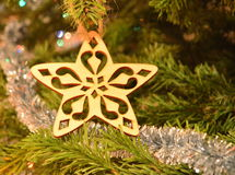 Christmas decoration - wooden star Royalty Free Stock Photos