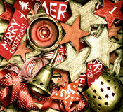 Christmas decoration wooden stars, advent calendar and bell Royalty Free Stock Images