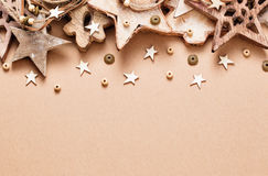 Christmas decoration with wooden stars Royalty Free Stock Photos