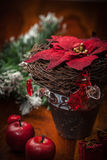 Christmas decoration on wooden table stock images