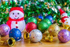 Christmas decoration on wooden table. Use for Decorate on Season and Holiday Royalty Free Stock Photos