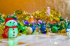 Christmas decoration on wooden table. Use for Decorate on Season and Holiday Stock Images