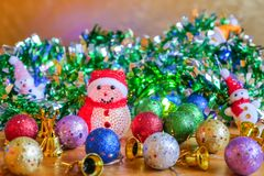 Christmas decoration on wooden table. Use for Decorate on Season and Holiday Stock Photo
