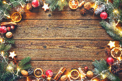 Christmas decoration on a wooden table Stock Photography