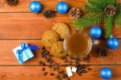 Christmas decoration on a wooden table, top view. Stock Photo