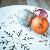Christmas decoration on wooden table (vintage color toned image) Royalty Free Stock Photo