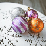Christmas decoration on wooden table (vintage color toned image) Royalty Free Stock Image