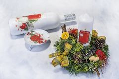 Christmas decoration on wooden tray with red candles Stock Photo