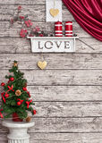 Christmas decoration on the wooden white wall Stock Image