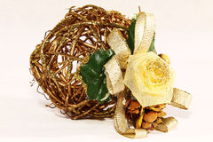 Christmas decoration from woven twigs Royalty Free Stock Photo