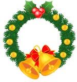 Christmas Decoration Wreath Bells Stock Photo