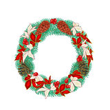 Christmas decoration wreath with pine cones vector Royalty Free Stock Photo