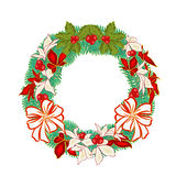 Christmas decoration wreath with poinsettia vector Stock Image