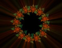Red Poinsettia Wreath with Rays. Christmas decoration, wreath from red poinsettia with rays of light on black background, abstract illustration Royalty Free Stock Photography