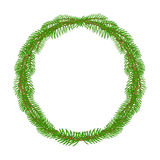 Christmas decoration wreath  round Frame vector Royalty Free Stock Images