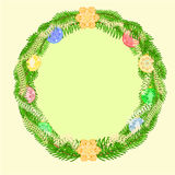 Christmas decoration wreath with vintage baubles vector Stock Photo
