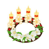 Christmas decoration wreath with white flowers vector Stock Photo