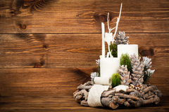 Christmas decoration -  wreath and  on the wooden background. Christmas decoration - christmas wreath  on the wooden background Stock Images