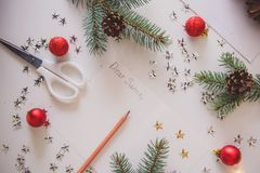 A Letter to Santa. Christmas decoration,writing an letter to Santa Claus royalty free illustration