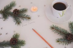 A Letter to Santa. Christmas decoration,writing an letter to Santa Claus Stock Photos