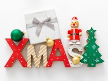 Christmas decoration with xmas text and some glass balls. A Christmas decoration with xmas text and some glass balls stock photos