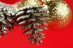 Christmas decoration, Xtmas pine tree over red Royalty Free Stock Image