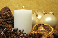 Christmas decoration yellow background Stock Images