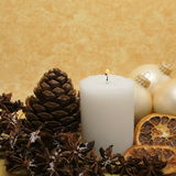 Christmas decoration yellow background Stock Image