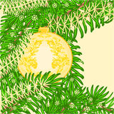 Christmas decoration yellow baubles vintage ornamental patterns  vector Royalty Free Stock Photo