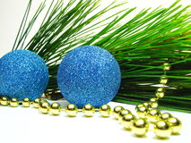 Christmas Decorations 1. Super macro photograph Christmas Decoration with fresh Pine leaves Stock Photos