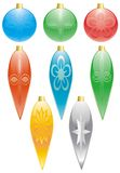 Christmas Decorations. Colorful Christmas Decorations with round and elongated shapes on a white isolated background Stock Photo