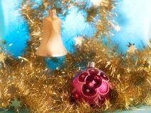 Christmas decorations. The christmas ball and bell Stock Images