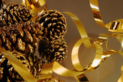 Christmas decorations. Cones and ribbon for christmas decoration stock photos