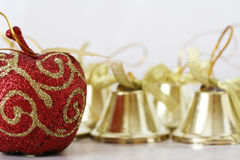 Christmas Decorations. Close up shot of some colorful christmas decorations Stock Photo