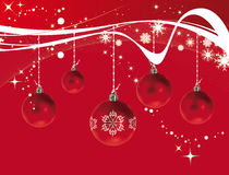 Christmas decorations. Celebration of christmas with red decorations on red background Stock Image