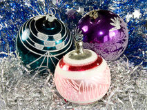 Christmas decorations. With three balls Royalty Free Stock Photo