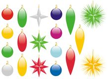 Christmas Decorations. Colorful Christmas Decorations on Isolated White Background Royalty Free Stock Photo