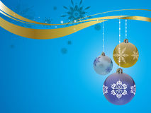 Christmas decorations. On a blue background with snow Stock Photo