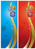 Christmas decorations. Banners of christmas decorations on a blue and red background Royalty Free Stock Image