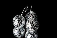 Christmas decorations. Three christmas dicco balls on black background Stock Photography