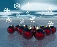 Christmas decorations. With snowflakes and red balls, over sky and snow Stock Images