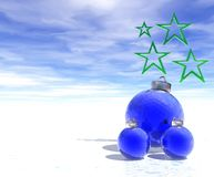 Christmas Decorations. Christmas abstract with decorations over sky and snow Stock Photo