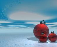 Christmas Decorations. Christmas abstract with decorations over sky and snow Stock Photos