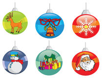 Christmas decorations. Collection of christmas decoration bulbs and hangings Royalty Free Stock Image