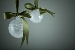 Christmas decorations. Christmas ball with ribbon Royalty Free Stock Image