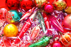 Christmas decorations. Various Christmas decorations on red background Stock Photography