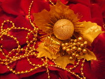 Christmas decorations. In red background royalty free stock image