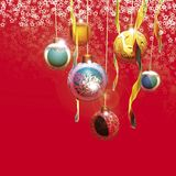 Christmas decorations. 3D rendering, Christmas decorations on red background stock illustration